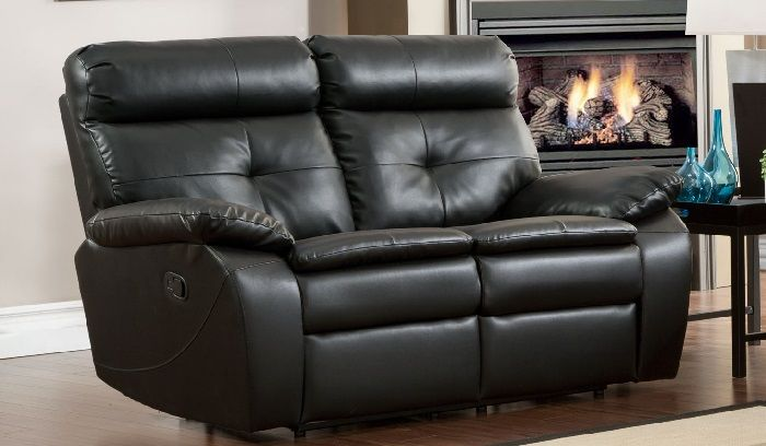 Black Leather Dual Reclining Loveseat