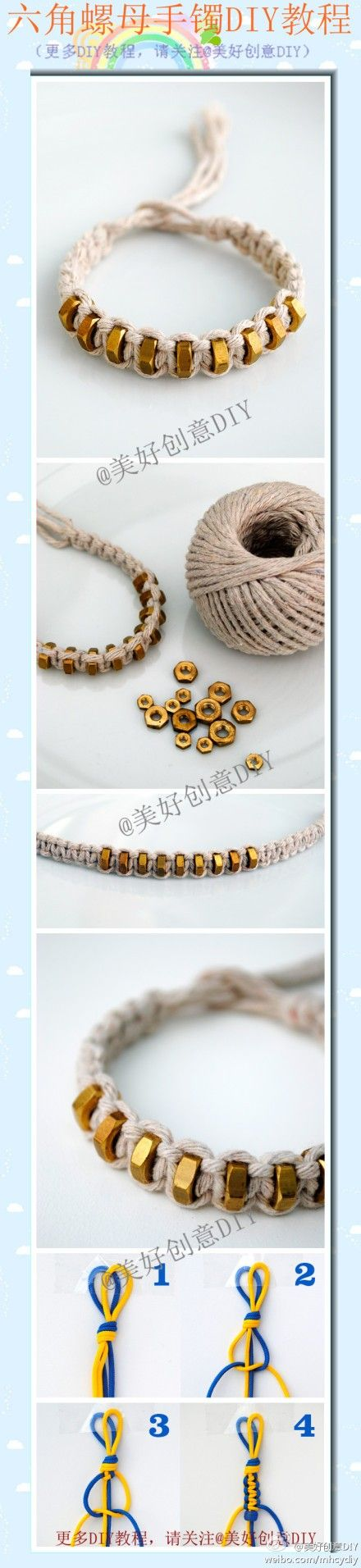 Hex nut bracelet DIY tutorials, great personality it ~ ~ fast to make a try!  - More interesting, please follow @ wonderful creative DIY