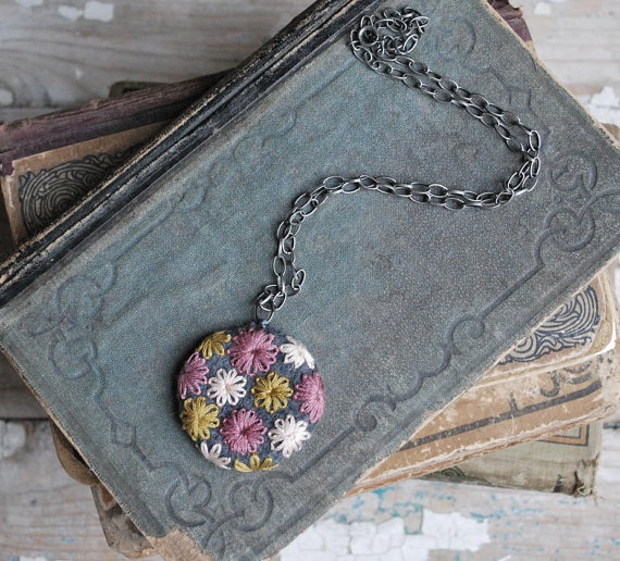 Felt Necklace Hand Embroidered Pendant