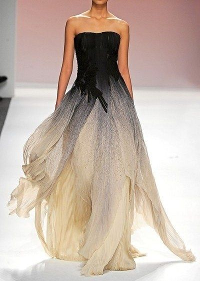 Stunning ombre and layers: black and gold gown.
