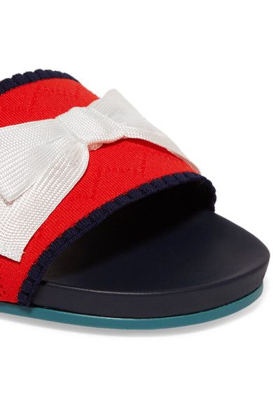 Fendi - Bow-embellished Stretch-knit And Leather Slides - Red - IT38.5