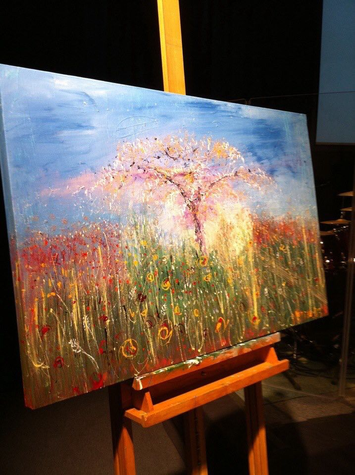 """In the Middle of the Garden"" Painted live in 30 mins worship at DaySpring Church, Sydney, Bill Johnson Conference 2013. #wendymanzo #propheticart #worshipart #liveart #speedpainting #billjohnson"