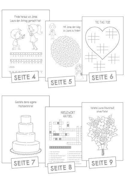 Activity Book Wedding Vintage Malheft Kids Rätselheft Hochzeit Kinder