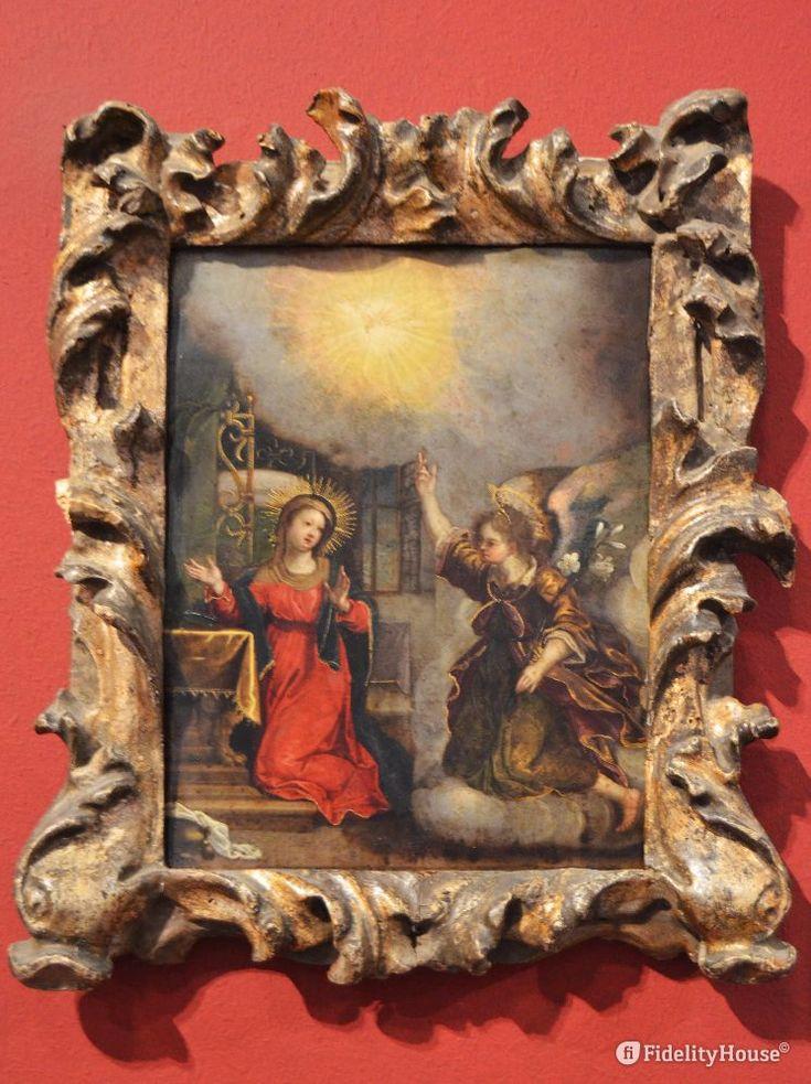 Annunciazione (1600). Maria in preghiera è visitata dall'angelo Gabriele, quadro bellissimo di Peter Candid.