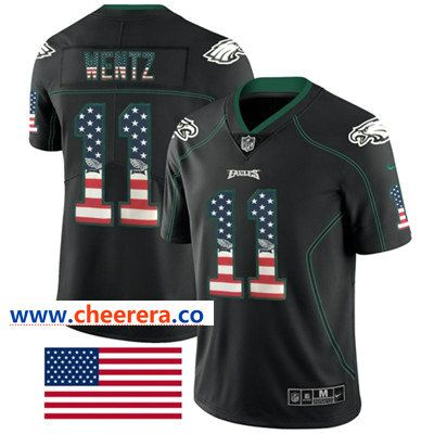 c2ed579d731 Nike Philadelphia Eagles  11 Carson Wentz Black Men s Stitched NFL Limited  Rush USA Flag Jersey