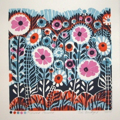 Handprinted 5 colour lino print by Zebedee.
