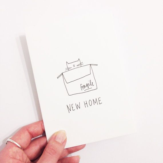 new home cat card - moving house / house warming / new home - hand illustrated greeting card