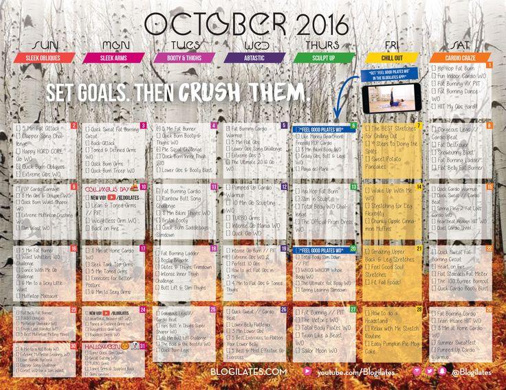 Blogilates October 2016 Workout calendar
