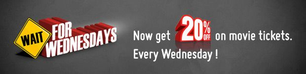 Wait for Wednesdays Offer: 20% OFF on Movie Tickets at BookMyShow #CouponsCode    @http://goo.gl/3dDFbV