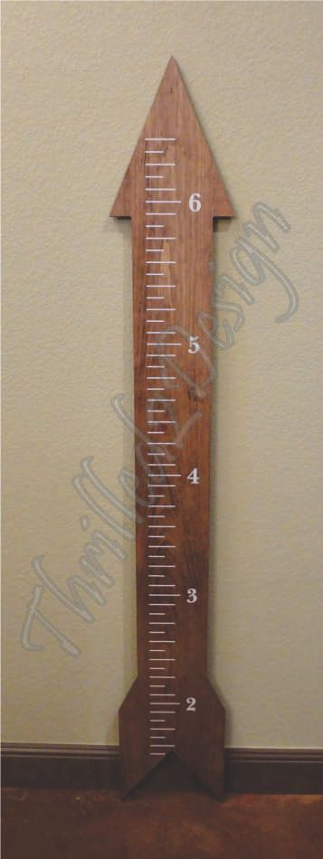 Growth Chart Wood Arrow Shape  Personalized and by Thrilled2Design