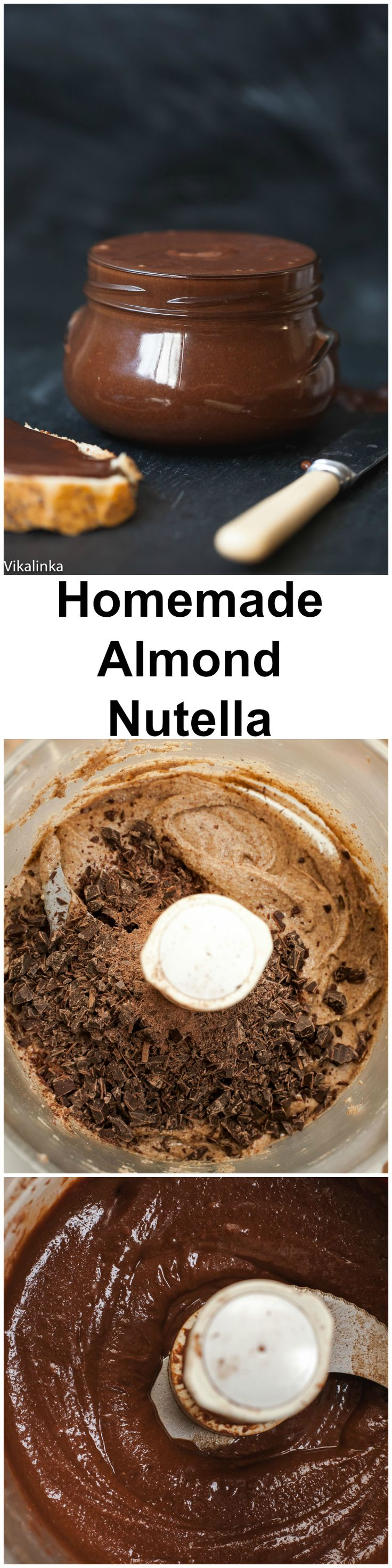 Homemade Almond Nutella (no sugar)-all natural ingredients, heavy on nuts rather than sugar. So delicious!