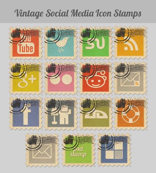 Vintage stamp icons