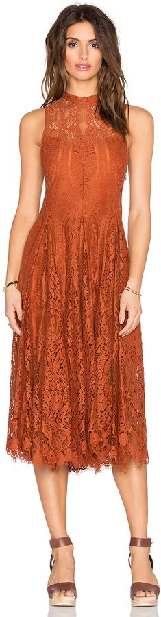 Free People Lace Trapeze Midi Dress, bridesmaid dress, wedding, orange, rust