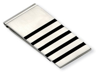 Men's Stainless Steel Black Rubber Money Clip Holder Available Exclusively at Gemologica.com