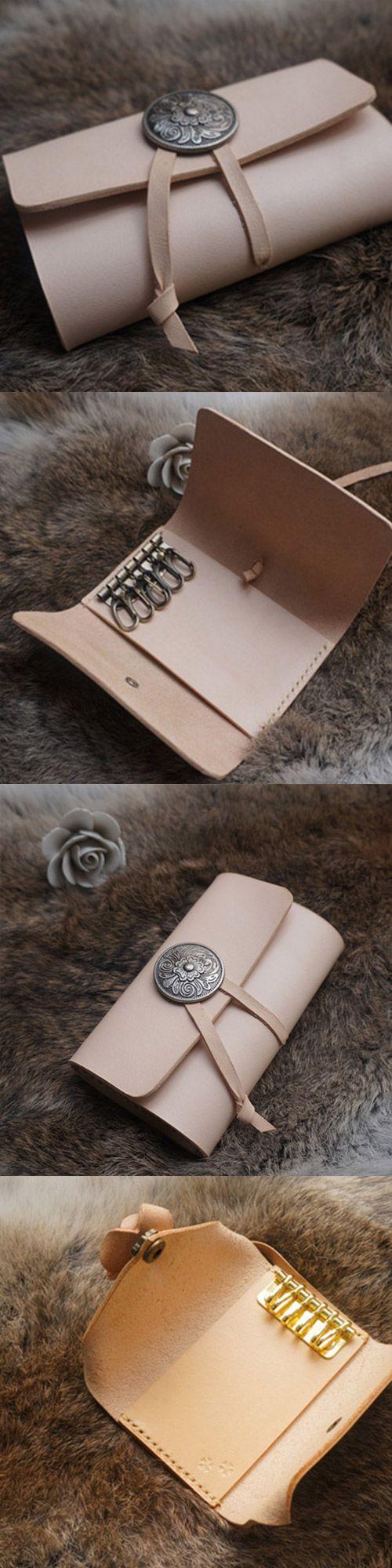 Handmade leather vintage women short keys wallet wallet purse wallet