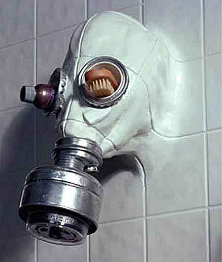 Creepy Gas Mask Shower Head.  What is it about a gas mask that scares the guts out of me?  So creepy!