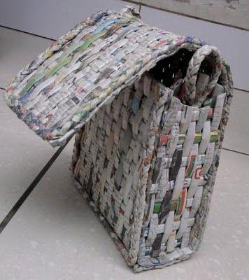 Recycled newspaper bag. #craft #diy #bag