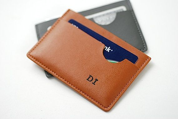 Personalized Leather Credit Card Wallet Fathers by BrambleandBeene