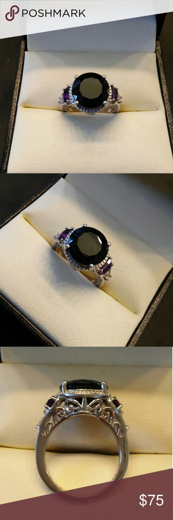 6.00ctw Genuine Black Tourmaline & Amethyst 925 Beautiful genuine Black Tourmaline, Amethyst & White Topaz. Platinum over solid 925 sterling silver. Size 7 estate 925 Jewelry Rings