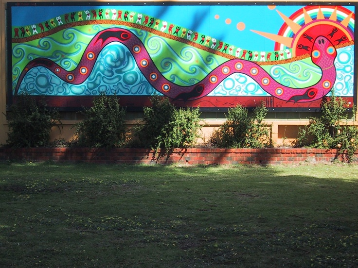 This is an aboriginal mural from some small town I visited in Western Australia.