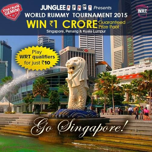 Get a chance to visit Singapore | Penang | Kuala Lumpur for just Rs.10. Play qualifiers NOW & Win Rs.1 Crore Prize Pool.  #win1crore #wrt2015 #worldrummy #jungleerummy