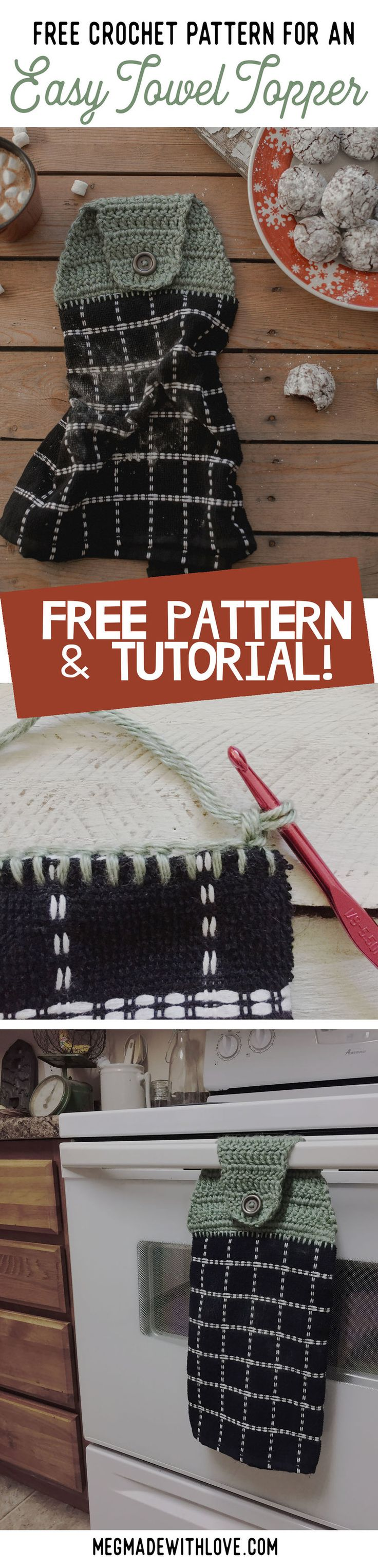 Free Crochet Pattern for a Kitchen Towel Topper - Megmade with Love
