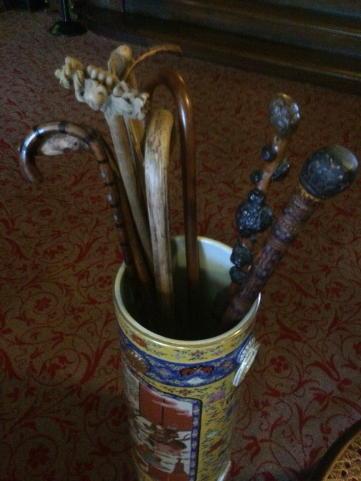 Frederic Church's canes are usually in the vestibule of the main house at Olana. Yet the vestibule is getting its winter cleaning so the canes are in the Court Hall for now.