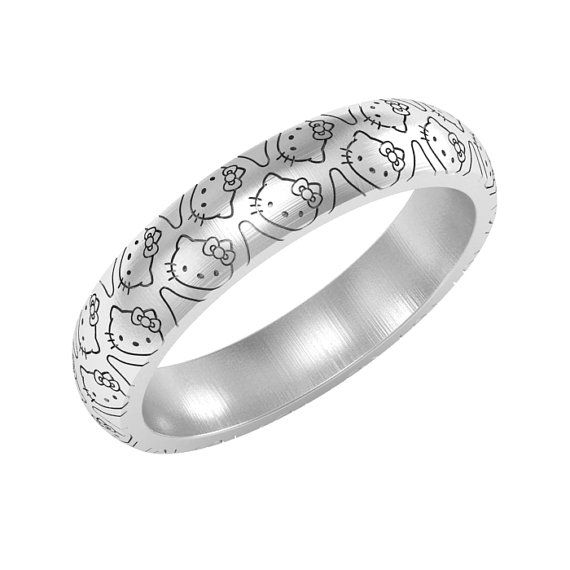 Hello Kitty band ring silver or 14K gold Hello Kitty ring by ASHYL, $85.00