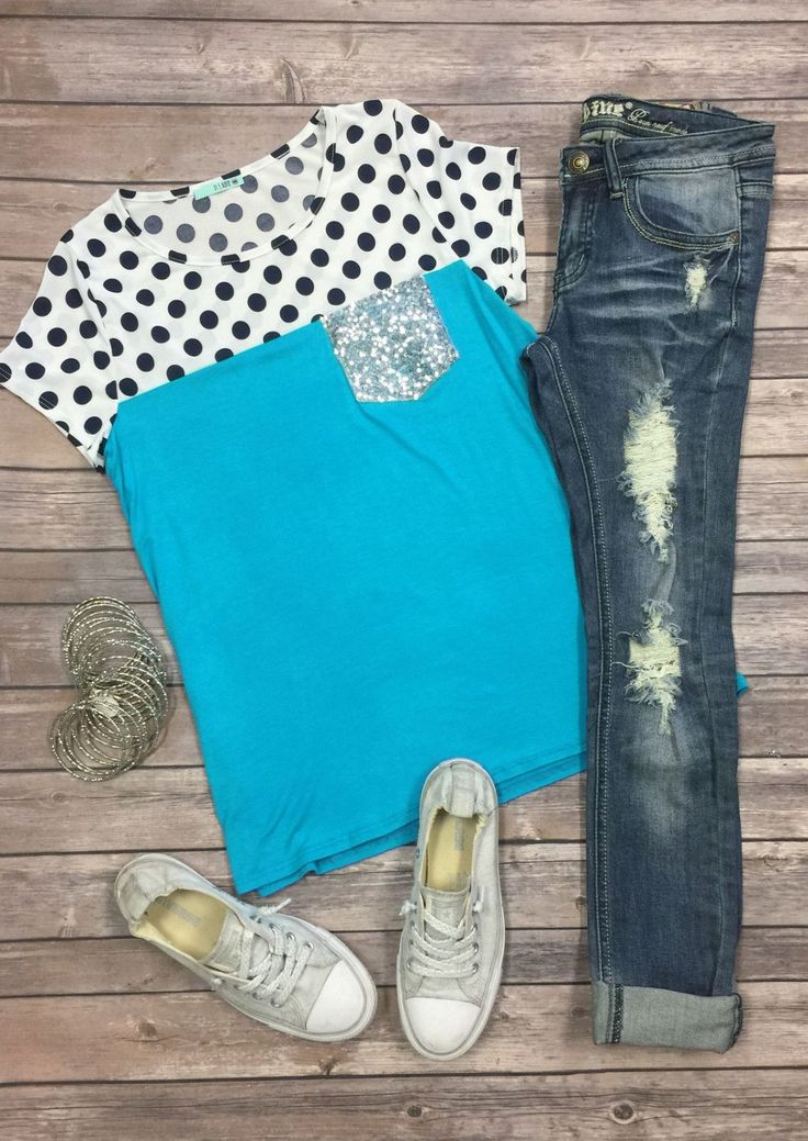 Polka Dot Sequin Pocket Top from privityboutique