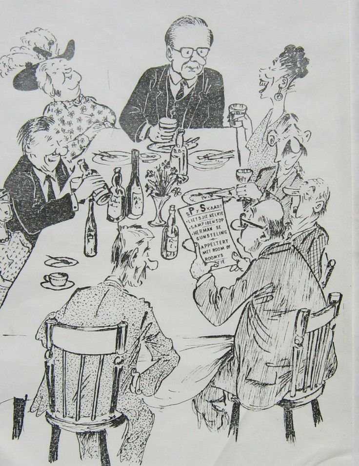 Caricature made by Isaac Blake in ink of Provincial Secretary (Director General) T. vd Walt & guests T.O. Honiball style as front page of a menu.