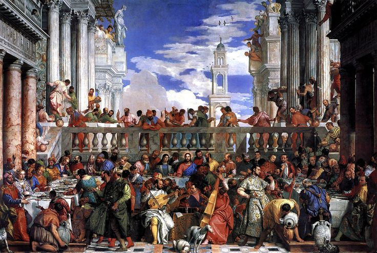 """Paolo Veronese's Wedding Feast at Cana. Veronese (1528-1588) was an Italian painter of the Renaissance in Venice, famous for paintings such as The Wedding at Cana and The Feast in the House of Levi. He adopted the name Paolo Cagliari or Paolo Caliari, and became known as """"Veronese"""" from his birthplace in Verona. Veronese, Titian, and Tintoretto constitute the triumvirate of pre-eminent Venetian painters of the late Renaissance (16th century). Veronese is known as a supreme colorist."""