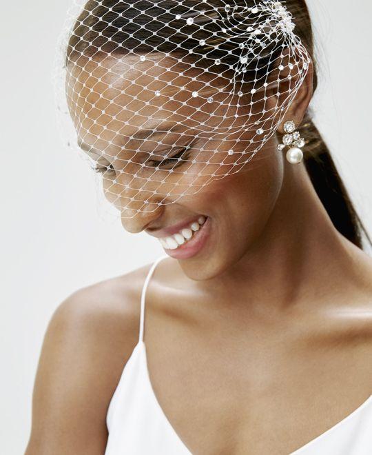 Weddings & Parties: J.Crew women's crepe de chine bridal jumpsuit, Twigs & Honey® rhinestone birdcage veil and pearl cluster earrings.