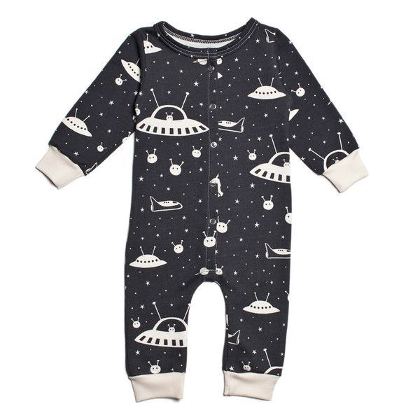 French Terry Jumpsuit - Outer Space Charcoal - It's never too early to inspire your little one with the possibility of extra-terrestrial intelligence...