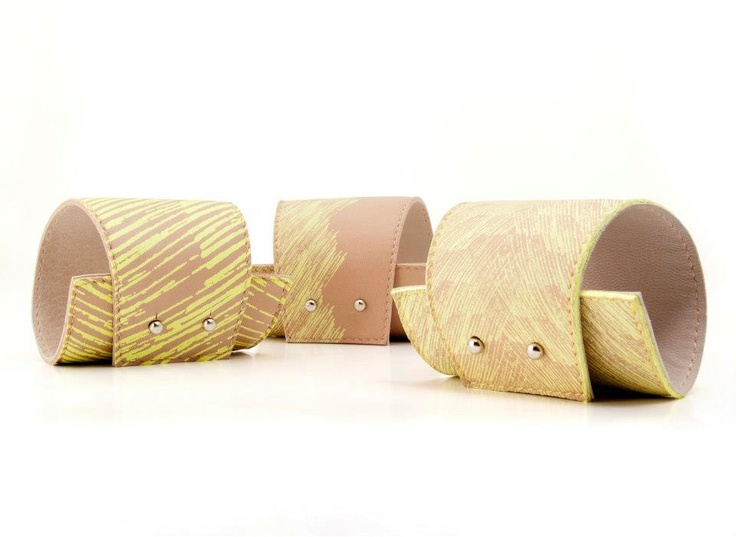 Screenprinted nude leather bracelets with yellow pattern by BLACKLIST