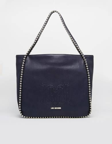 Love Moschino Studded Shopper Bag in Navy - Navy