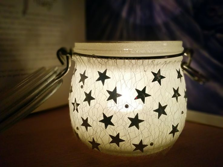 Stars and strass jar, white spray Montana