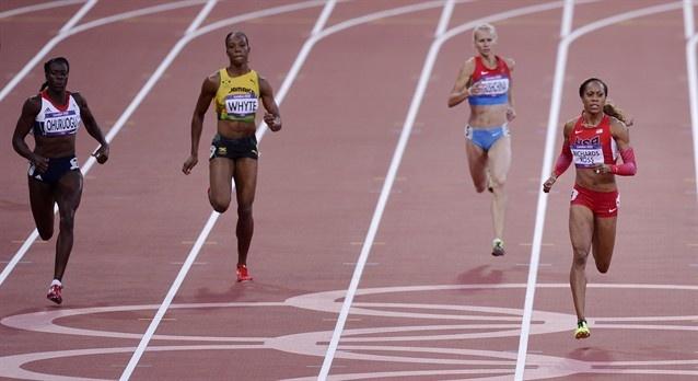 Britain's Christine Ohuruogu, Jamaica's Rosemarie Whyte, Russia's Yulia Gushchina, and United States' Sanya Richards-Ross in a women's 400-meter semifinal.