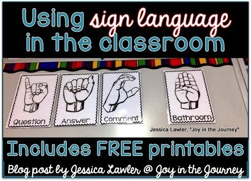 Simple sign language to use in the classroom - genius trick! Blog post by Jessica Lawler @ Joy in the Journey