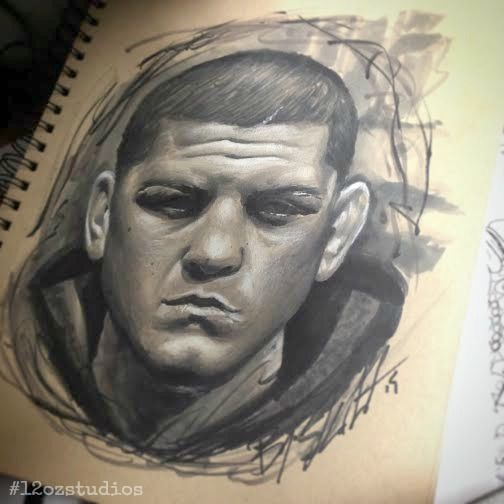 Awesome black and grey Nick Diaz UFC Ultimate Fighter MMA portrait sketch by Kevin Soto.