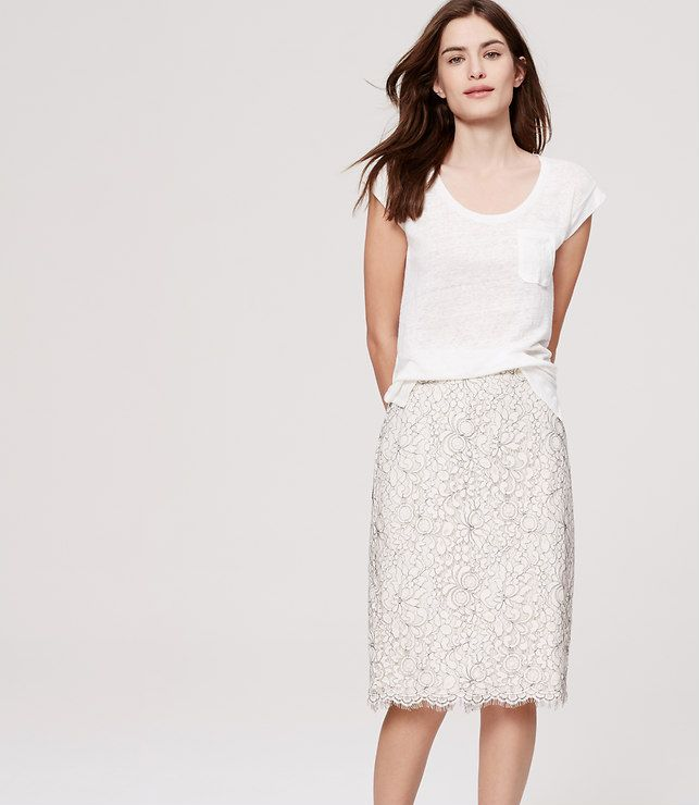 Primary Image of Floral Lace Pencil Skirt