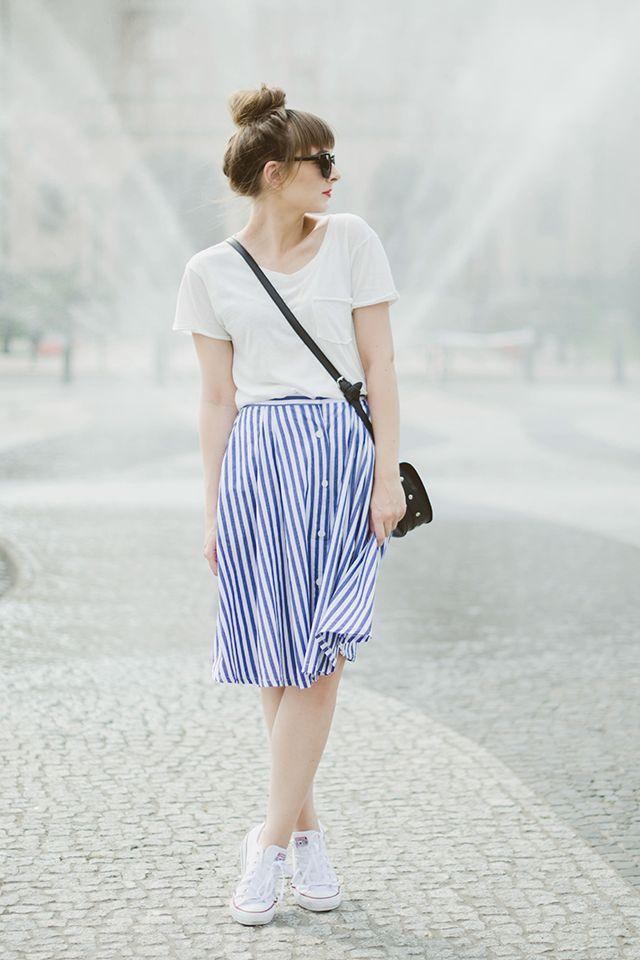 Maddinka: High Bun / Updo + Basic White Tee + Vintage-Style Button-Down Midi Skirt + White Sneakers/Converses+ Small Black Crossbody Bag + Red Lips + Round Sunnies/Sunglasses