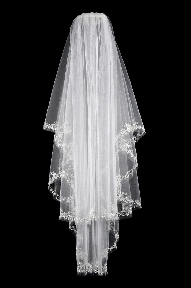 Two layer bridal veil with floral beaded embroidery