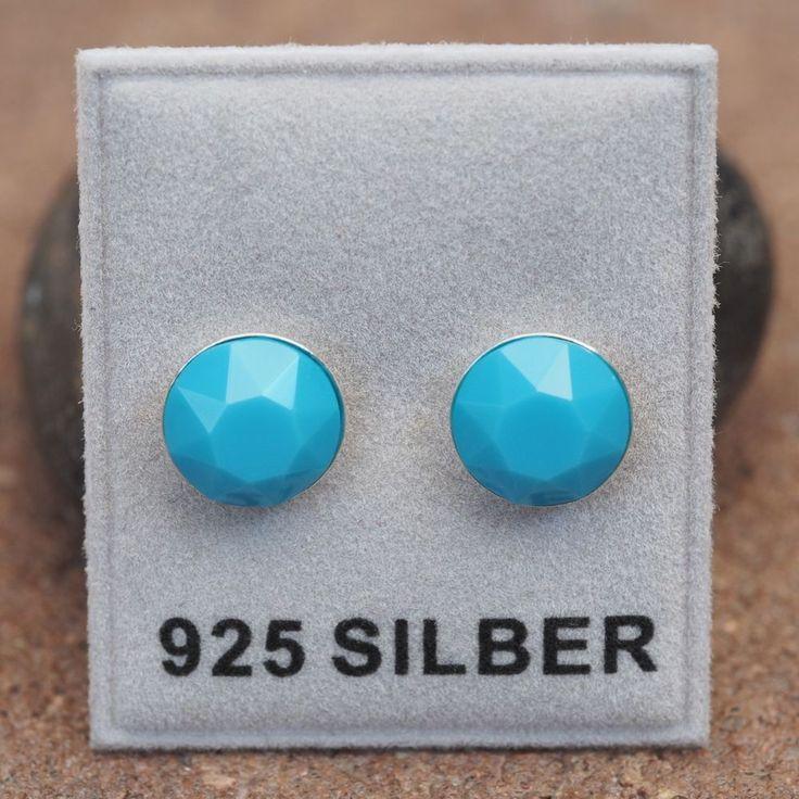NEU 925 Silber OHRSTECKER mit 8mm SWAROVSKI STEINE turquoise/türkis OHRRINGE-£9,49-magoshop1