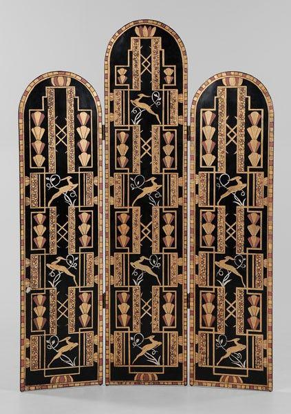Art Deco Style Three-Panel Room Screen