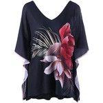 Cold Shoulder Batwing Sleeve Plus Size T Shirt