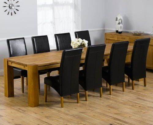 Venice Solid Oak Furniture Extending Xl Dining Table With 8 Roma