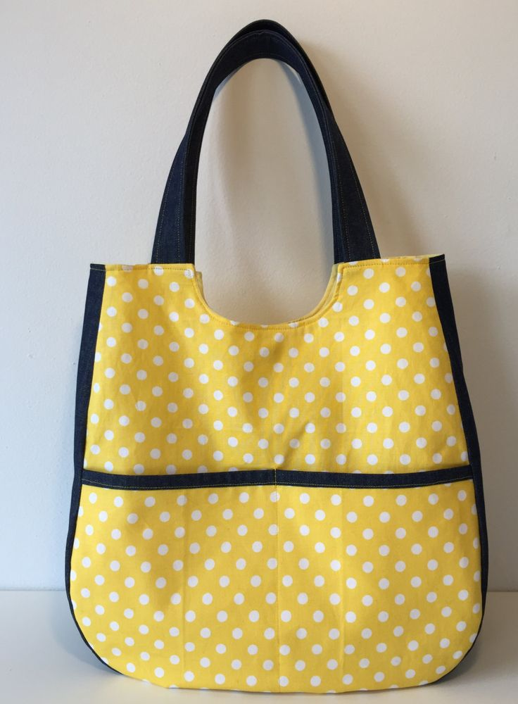 yellow polka dot tote bag by ARPCreations on Etsy