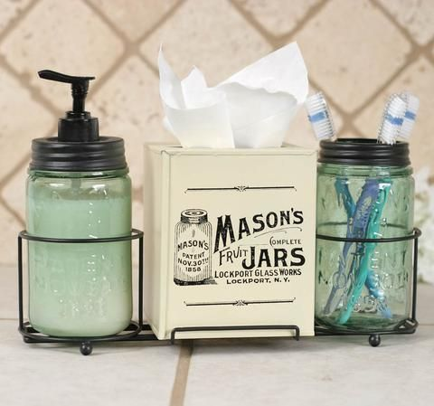 Mason Jar Bathroom Caddy with Mason Jars and Tissue Box Cover - *FREE SHIPPING*