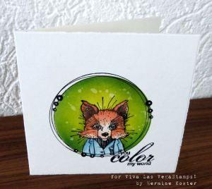 I like the frame for the fox. Hand Done. Foxy – Designed for Viva las vegaStamps