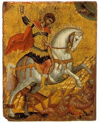http://mybyzantine.wordpress.com/2010/04/23/saint-georges-day-some-icons/  Icon of St. George by Emmanuel Tzanes (1660-80), now housed in the Church of San Salvatore, Chania, Crete.